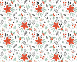 Reindeer Lodge - Winter Florals White from Camelot Fabrics