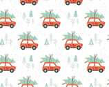 Reindeer Lodge - Rustic Holiday Cars Tree White from Camelot Fabrics