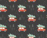 Reindeer Lodge - Rustic Holiday Cars Tree Dark from Camelot Fabrics