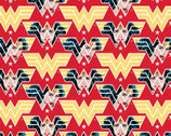Wonder Woman '84 - WW84 Face Crop Red from Camelot Fabrics