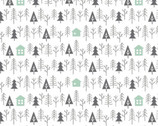 Reindeer Lodge - Cabin In The Woods White from Camelot Fabrics