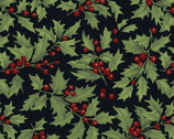 Let Nature Sing - Holly Berries Black from Clothworks Fabric