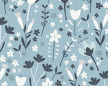 Little Red - Floral Blue from Clothworks Fabric