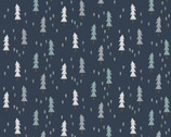 Little Red - Mini Trees Slate Dark Blue from Clothworks Fabric