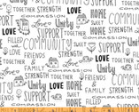 Home - Loves Lives Here Words White by Virginia Kraljevic from Windham Fabrics