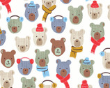 Cubby Bear FLANNEL - Baby Bears Off White by Whistler Studios from Windham Fabrics