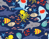 Cubby Bear FLANNEL - Sea Friends Navy Blue by Whistler Studios from Windham Fabrics