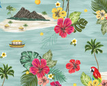 Isla - Isla Scene Aqua by Whistler Studios from Windham Fabrics