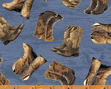 Happy Trails - Boots Cadet Blue from Windham Fabrics