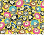 Musical Cats - Vinyl Records Yellow from Michael Miller Fabric