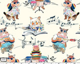 Musical Cats - Hip Cat Rehearsal Cream from Michael Miller Fabric