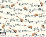 Musical Cats - Guitar Music Notes Cream from Michael Miller Fabric