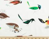 Western Birds Poplin - Main White by Charley Harper from Birch Fabrics