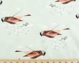 Western Birds Poplin - Gray Crowned Rosy Finch by Charley Harper from Birch Fabrics