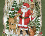 Christmas - Santa Woodland PANEL 36 Inches from Springs Creative Fabric