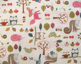 Woodland Critters - cream Canvas - Japan from Nutex