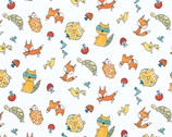 Fox Playground - White Animal Toss - Cotton Print Fabric by Dena Designs from Free Spirit