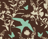 "Bungalow - Chocolate Swallow - Cotton Sateen Fabric - 54/55"" by Joel Dewberry from Free Spirit"