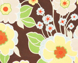 Retro Floral- Chocolate Brown - Cotton Print Fabric from Alexander Henry