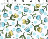 La Cage Au Birdie - Tossed Flowers  Cotton Print Fabric from Clothworks