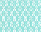 Grey Abbey - Folk Daisy Egg Blue by Elizabeth Olwen - Cotton Print Fabric from Cloud9