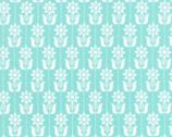 Grey Abbey - Folk Daisy Egg Blue by Elizabeth Olwen - Cotton Print Fabric from Cloud9