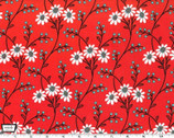 Wallflower Waltz - Clementine Dark Orange Cotton Print Fabric from Michael Miller