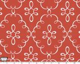 Doodle Damask - Clementine Dark Orange Cotton Print Fabric from Michael Miller