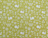 Garden - Critter Stamp Mustard Green - Light Weight Canvas by Ellen Luckett Baker from Kokka Fabrics