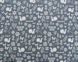 Garden - Critter Stamp Grey - Light Weight Canvas by Ellen Luckett Baker from Kokka Fabrics