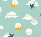 Everyday Party - Birds in Flight - Organic Cotton Print from Birch Organic Fabric