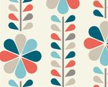 Mod Squad - Stem Stripe Coral by Dan Stiles - Organic Cotton Print from Birch Organic Fabric