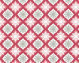 Season's Elegance - Red Grey Snowflake Foulard - Cotton Print Fabric from Studio E