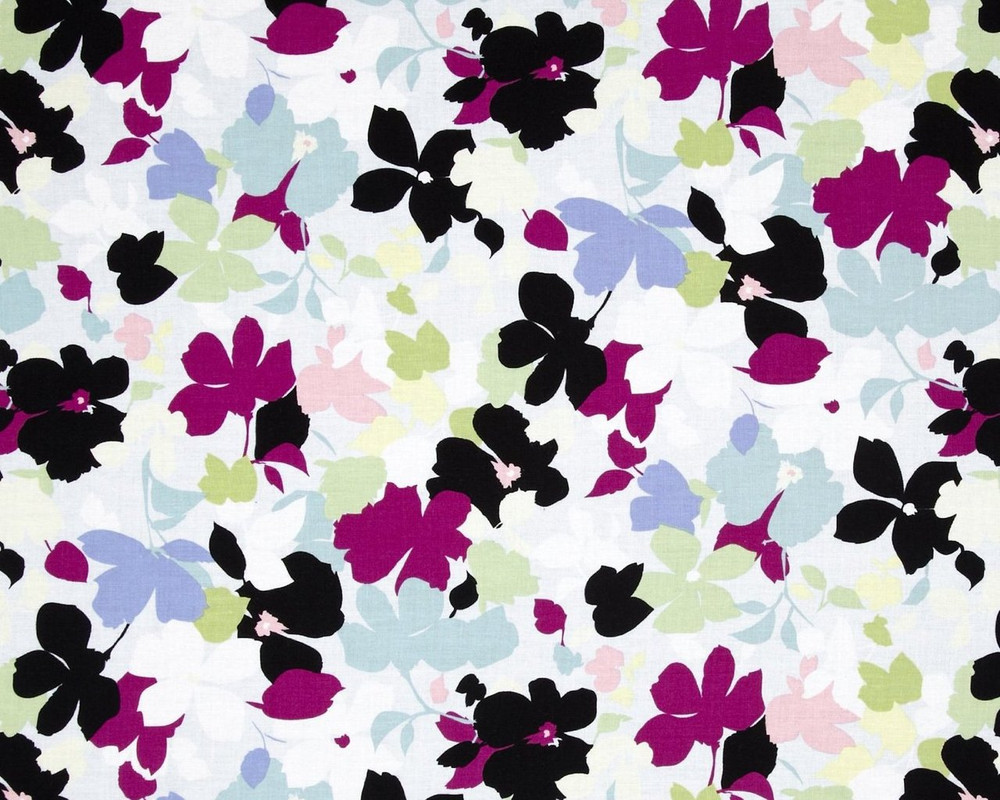 Modern Age Floral Blue Cotton Print Fabric From Studio E
