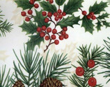 Home for the Holidays - Ivory Pine Cones Metallic Cotton Print from Timeless Treasures