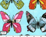 Flutter - Flutter Fly Butterfly Sky Aqua- Cotton Fabric by Laura Gunn from Michael Miller