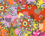 Global Bazaar Floral Red - Cotton Print Fabric from Blend Fabrics