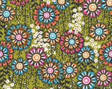Global Bazaar Swinging Blossoms Green - Cotton Print Fabric from Blend Fabrics
