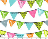 Party Bunting - Aqua Cotton Print Fabric from Michael Miller