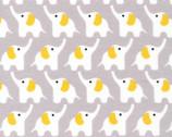 Fanfare - Elephants Gold Grey - Organic FLANNEL Fabric by Rae Hoekstra from Cloud 9 Fabrics