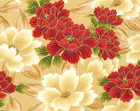 Oriental Traditions 11 - Crimson Flower with Metallic from Robert Kaufman