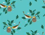 Charley Harper Canvas - Rey Eye Vireo - Organic Cotton Canvas from Birch Fabric