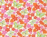 Wren Friends - Floral Violets Cream Tangerine by Gina Martin from Moda