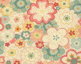 Mimi - Pop Flowers Cream Aqua by Chez Moi from Moda