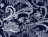 Indigo Blues - Navy Blue Large Leaves Vines from Henry Glass