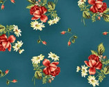 My Secret Garden - Deep Blue Bouquets and Buds Cotton Print Fabric from Maywood Studio