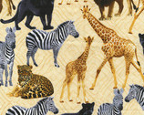 Sew Rousseau - Cream Born to be Wild Animals from Benartex