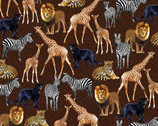 Sew Rousseau - Brown Born to be Wild Animals from Benartex