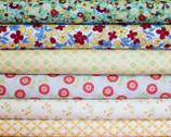 Retro-Inspired Small Blossom Fabric Bundle - Half Yard Bundle - 6 half yard pieces