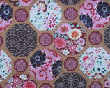 Floral Octagon Cotton Print Fabric With Gold Metallic Accents from Westex